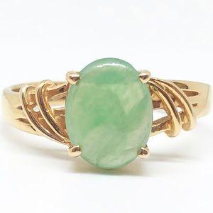 18k Yellow Gold Genuine Vintage Jade Ring